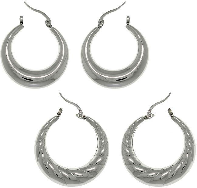 Jewelry Trends Stainless Steel Polished 2 Pair Crescent Hoop Earring Set