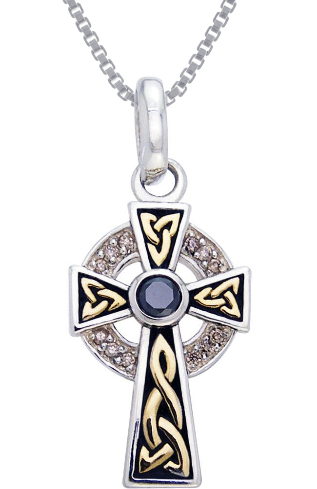 Jewelry Trends Sterling Silver Celtic Cross Pendant with CZ Stones and Gold-plated Accents on 18 Inch Box Chain Necklace