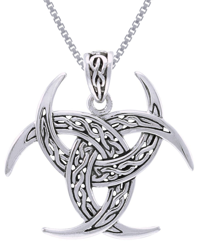 Jewelry Trends Sterling Silver Celtic Trinity Knot Triple Crescent Moon Pendant on 18 Inch Box Chain Necklace