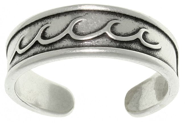 Jewelry Trends Sterling Silver Rolling Wave Design Adjustable Toe Ring