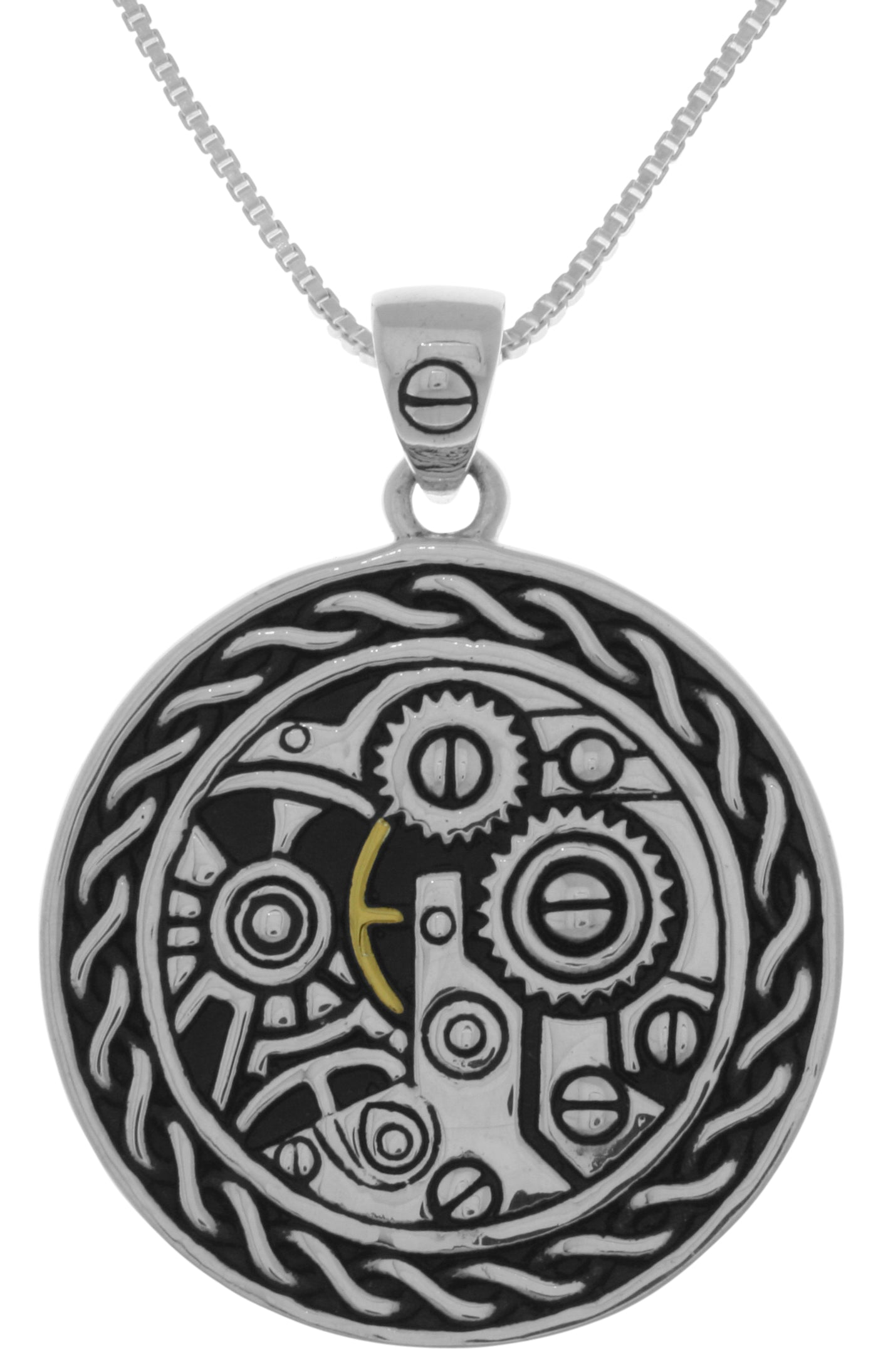 Jewelry Trends Sterling Silver Celtic Steampunk Gears Pendant on 18 Inch Box Chain Necklace