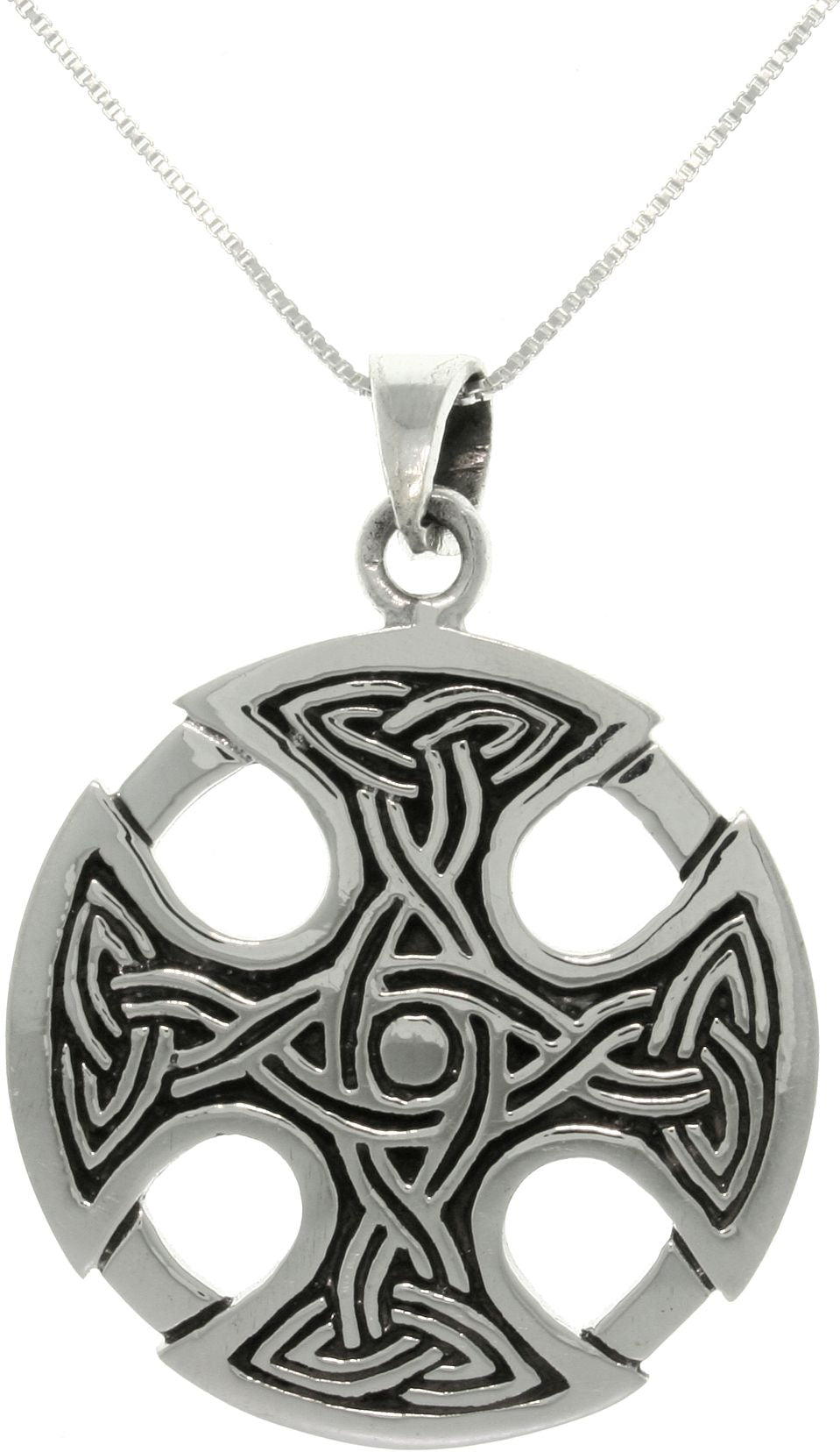 Jewelry Trends Silver Celtic Medallion Cross Pendant With 18 Inch Chain Necklace