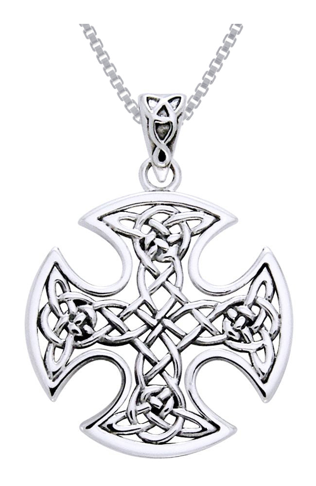 Jewelry Trends Sterling Silver Celtic Knotwork Cross Pendant on 18 Inch Box Chain Necklace Iron Cross for Valor