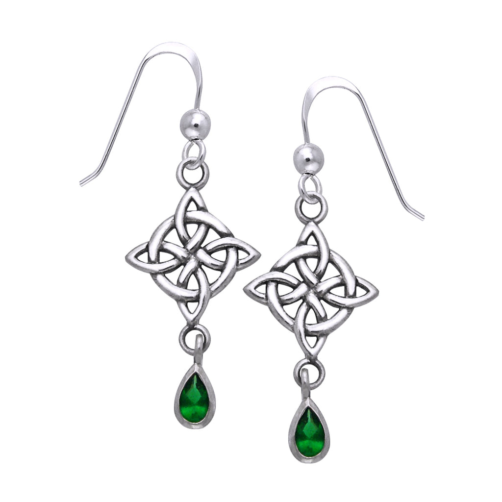 Jewelry Trends Sterling Silver and Dark Green Glass Celtic Luck Knotwork Dangle Earrings