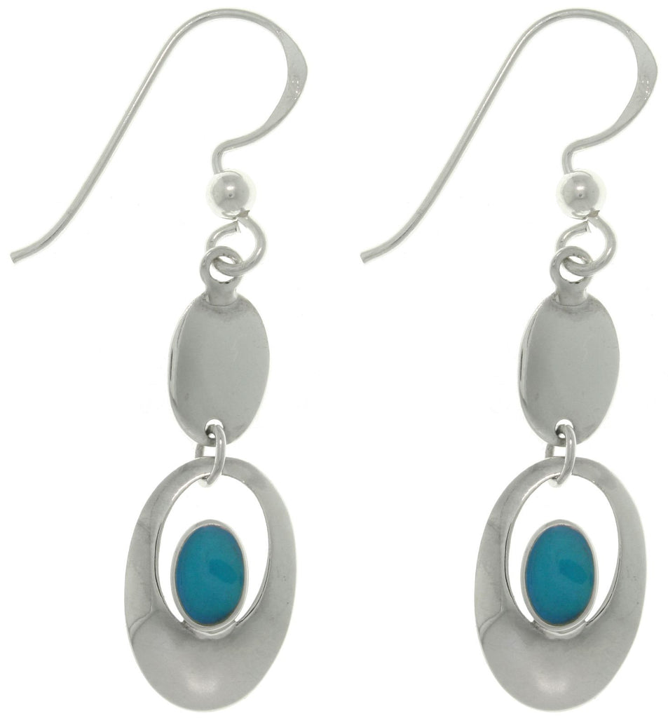 Jewelry Trends Sterling Silver Blue Colored Resin Drop Earrings