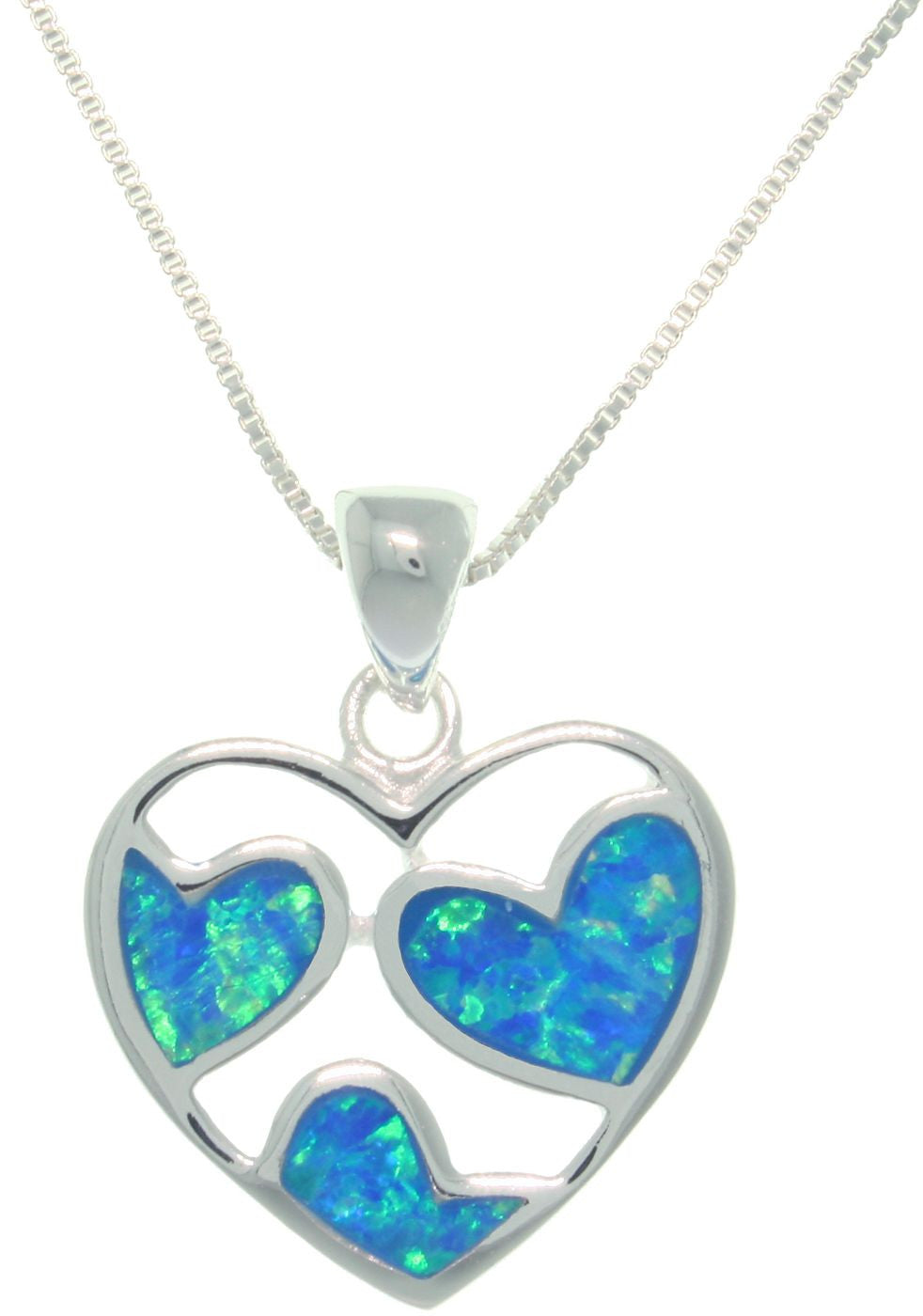 Jewelry Trends Sterling Silver Loving Hearts Created Opal Pendant With 18 Inch Chain Necklace