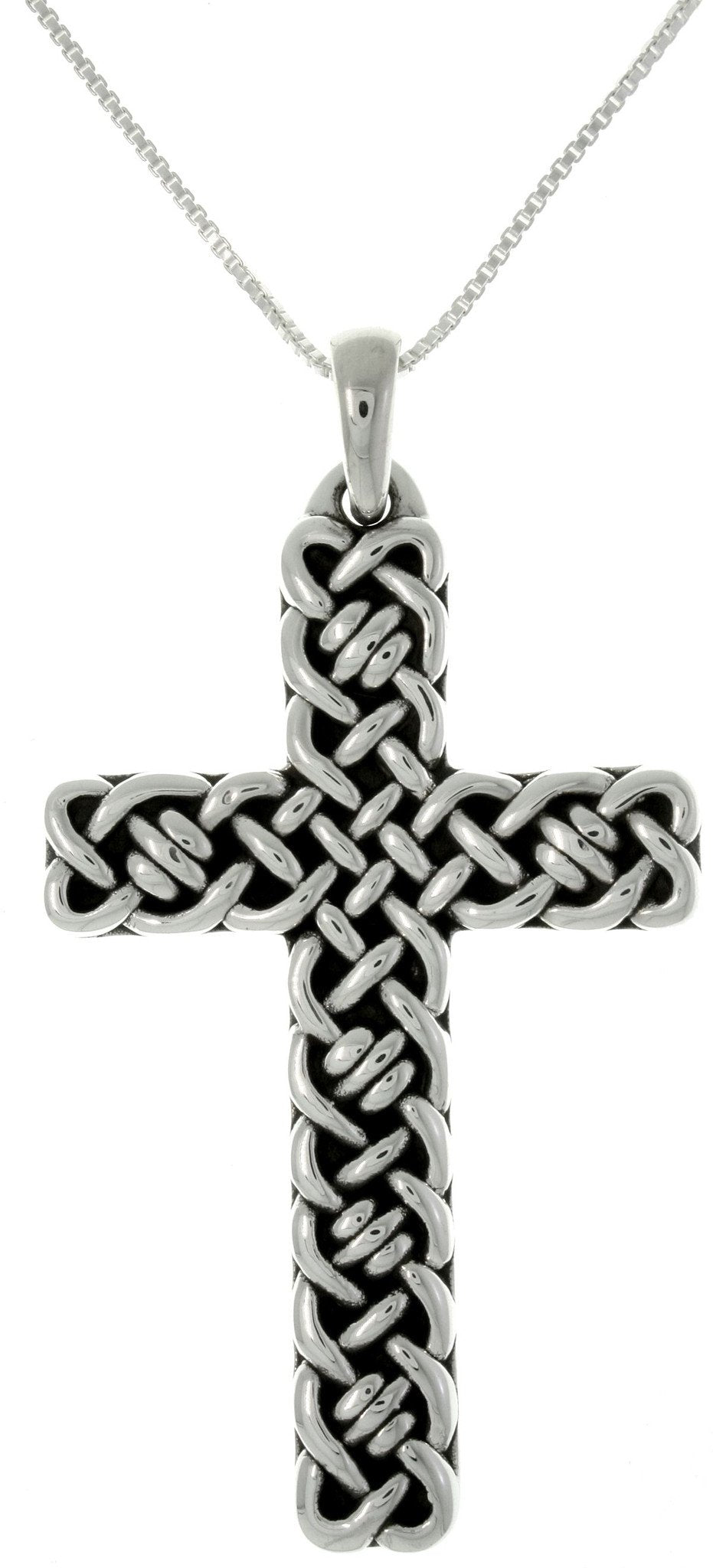 Jewelry Trends Sterling Silver Celtic Weave Cross Pendant with 18 Inch Box Chain Necklace