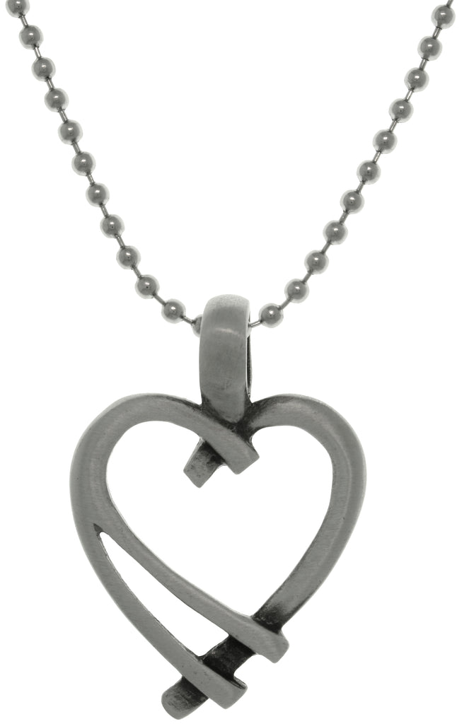 Jewelry Trends Pewter Modern Open Heart Pendant on Steel Ball Chain Necklace