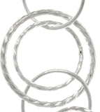 Jewelry Trends .925 Sterling Silver Round Link Hoop Long Dangle Earrings Made in Italy