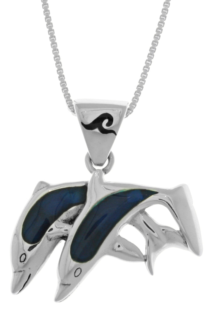 Jewelry Trends Sterling Silver Twin Dolphin Lovers Pendant with Blue Paua Shell on 18 Inch Box Chain Necklace