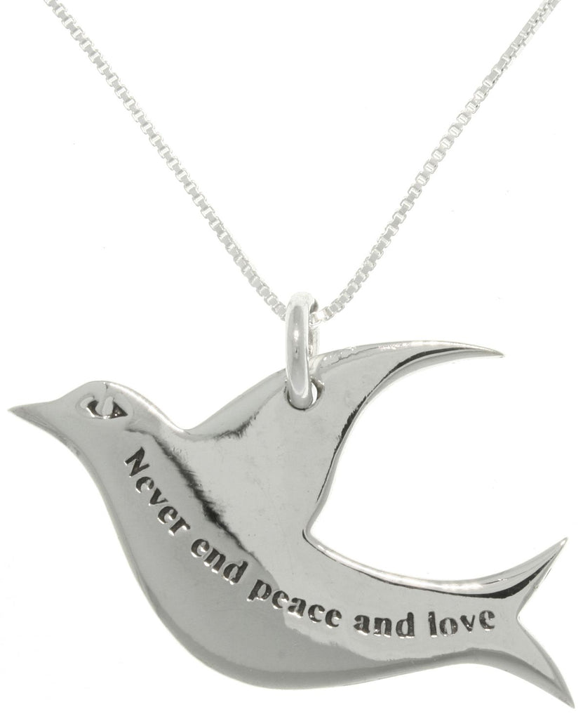 Jewelry Trends Sterling Silver 'Never End Peace and Love' Dove Pendant With 18 Inch Chain Necklace