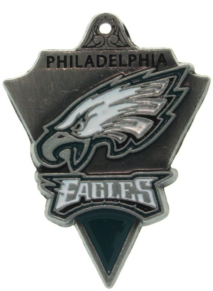Jewelry Trends Pewter Philadelphia Eagles NFL Pennant Pendant on Black Leather Necklace