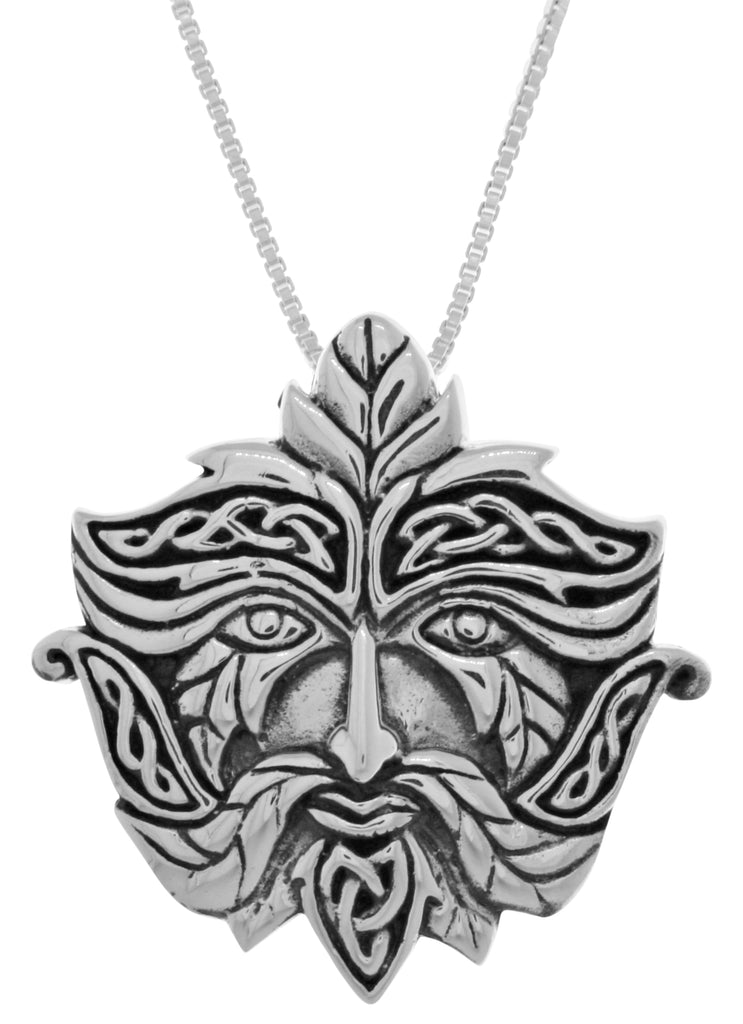 Jewelry Trends Sterling Silver Celtic Greenman Pendant on 18 Inch Box Chain Necklace Green Man Jewelry