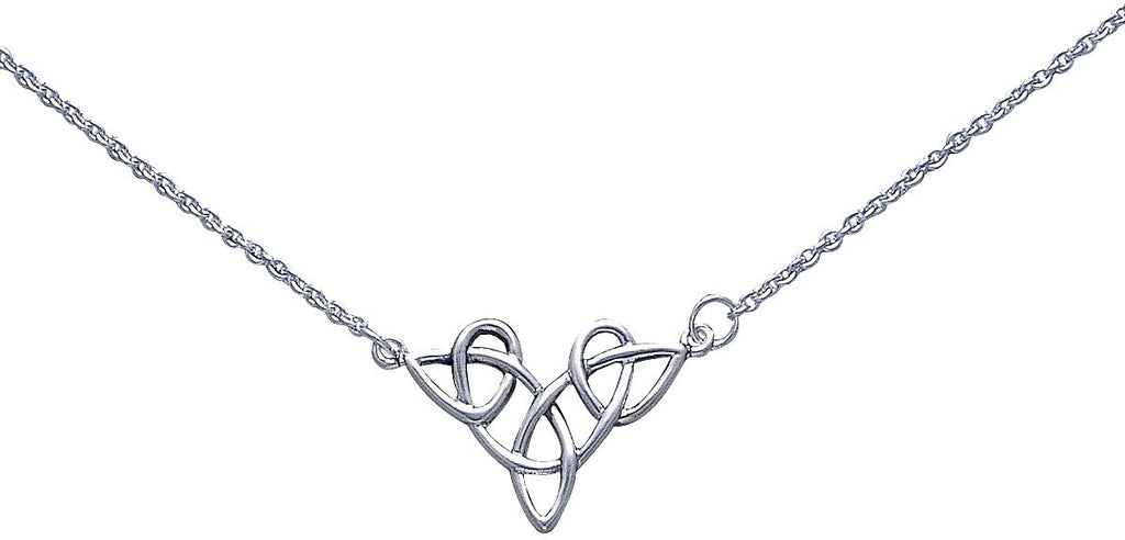 Jewelry Trends Sterling Silver Celtic Trinity Knot Pendant Centered on Link Chain Necklace