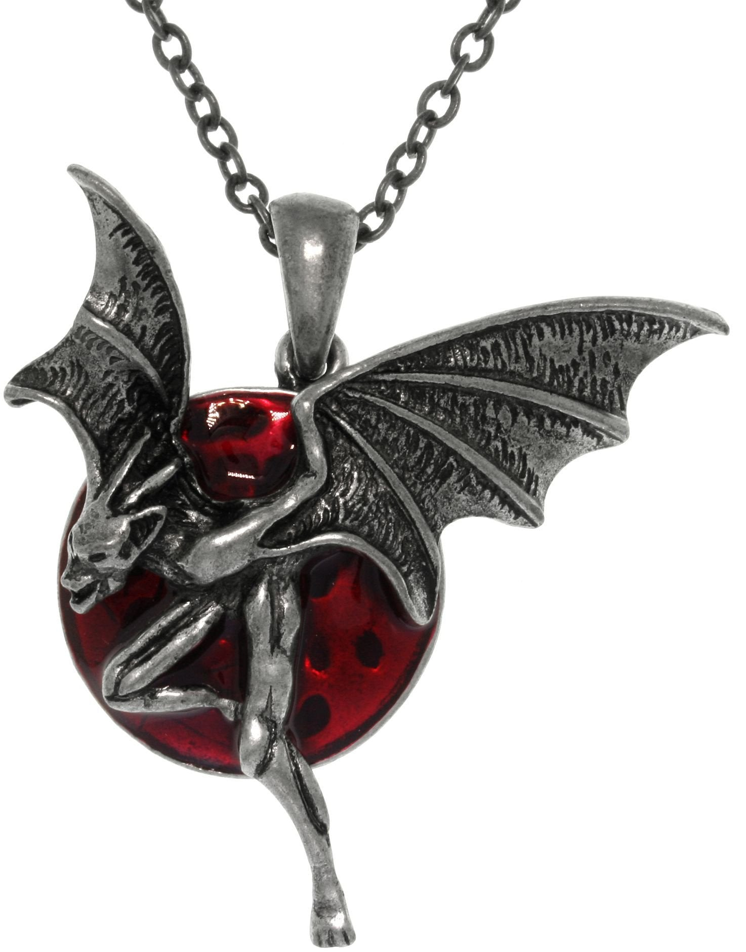 Jewelry Trends Pewter Red Moon with Creature of the Night Pendant on Chain Necklace
