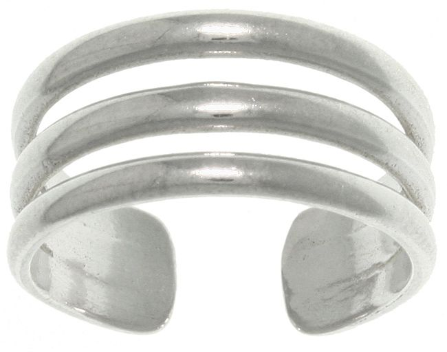 Jewelry Trends Sterling Silver 3-band Wide Adjustable Toe Ring or Midi Ring Pinky Ring
