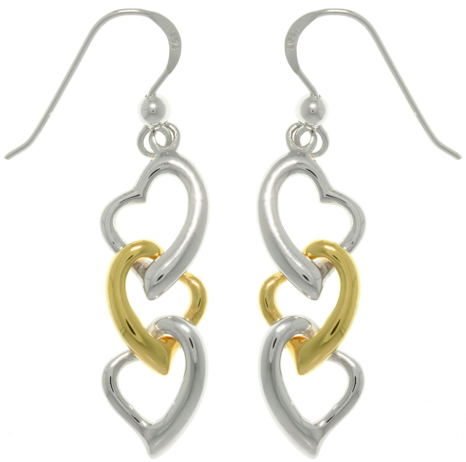 Jewelry Trends Sterling Silver Gold-plated Three Heart Dangle Earrings Gift