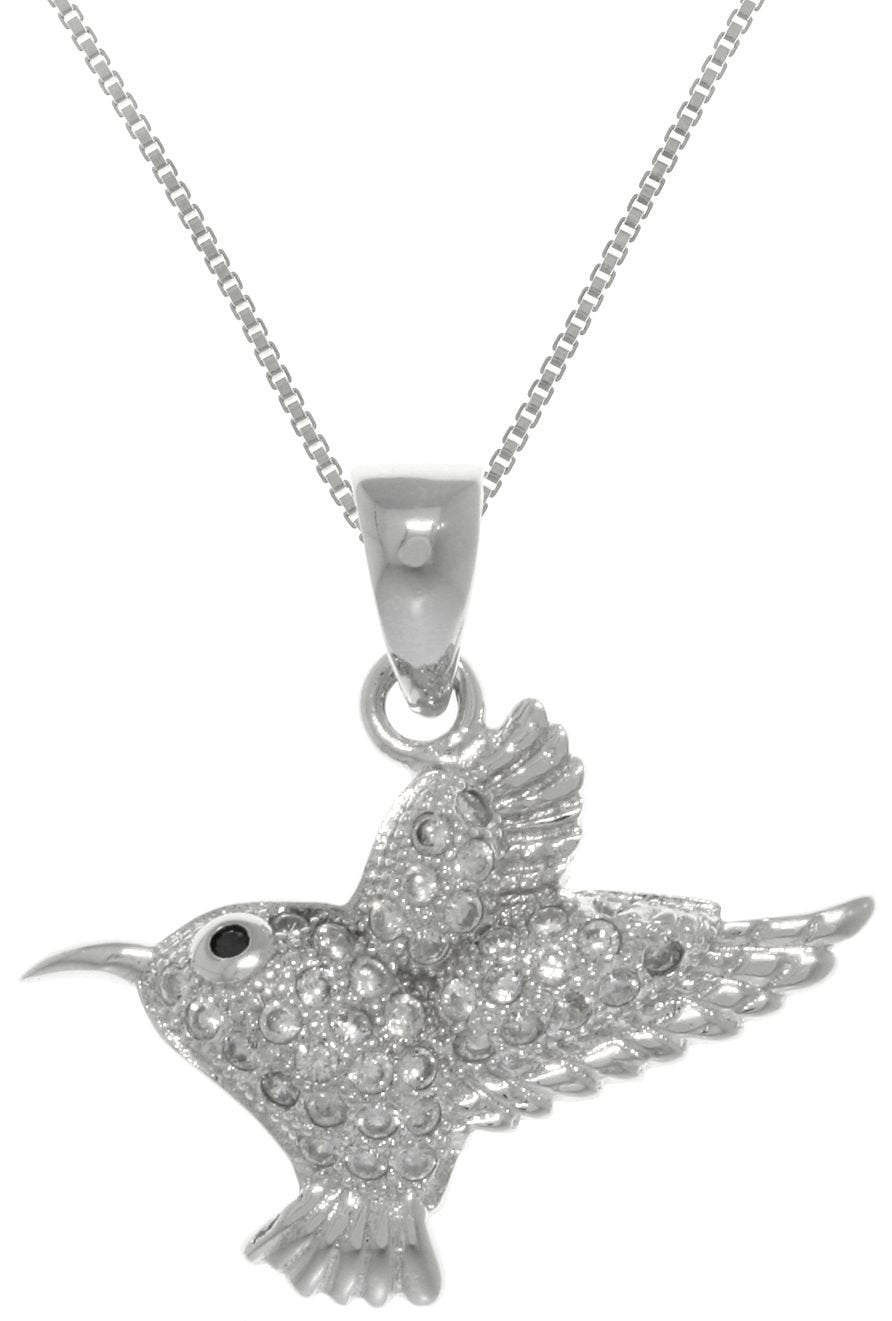Jewelry Trends Sterling Silver Hummingbird with Pave CZ Crystals on Box Chain Necklace Humming Bird Jewelry