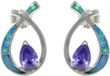 Jewelry Trends Sterling Silver Created Blue Opal and Amethyst Purple CZ Teardrop Post Earrings
