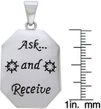 Jewelry Trends Sterling Silver Inspirational Ask and Receive Religious Dog Tag Pendant with Box Chain Necklace