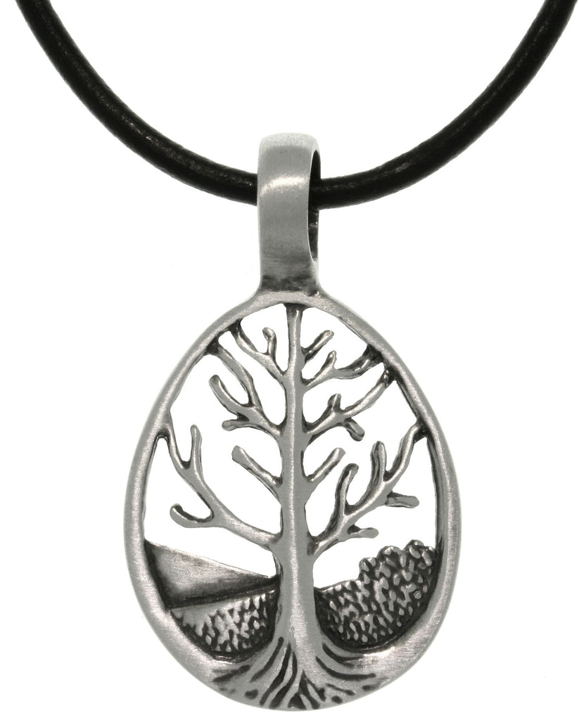 Jewelry Trends Pewter Tree of Life Teardrop Pendant with 18 Inch Black Leather Cord Necklace