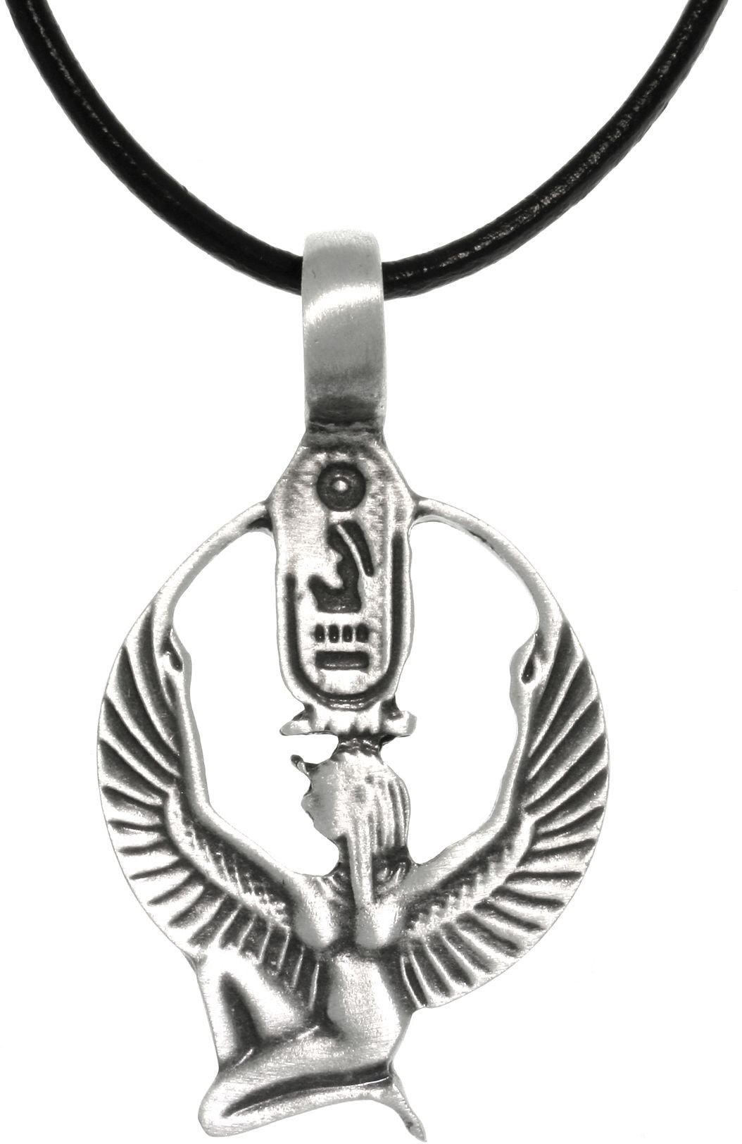 Jewelry trends pewter egyptian isis with wings and cartouche jewelry trends pewter egyptian isis with wings and cartouche pendant on black leather necklace biocorpaavc