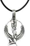 Jewelry Trends Pewter Egyptian Isis with Wings and Cartouche Pendant on Black Leather Necklace