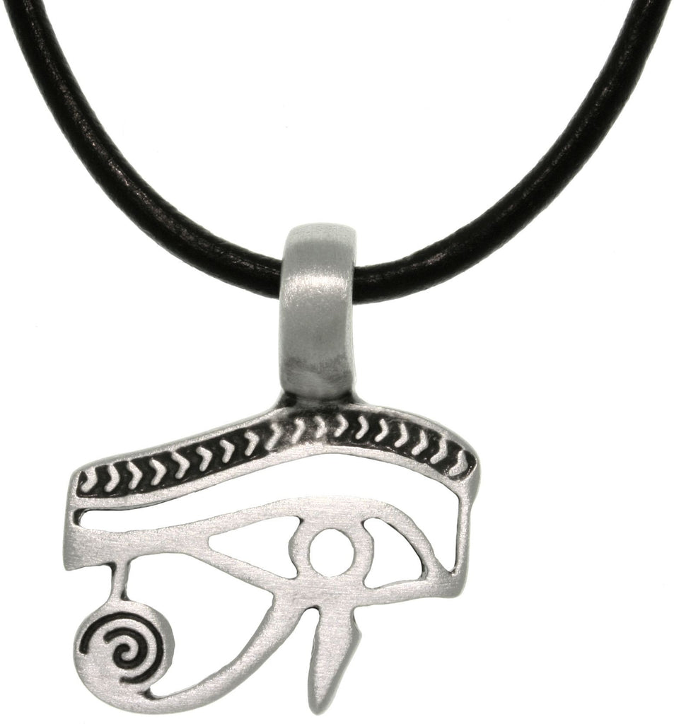 Jewelry Trends Pewter Eye of Horus Egyptian Pendant with 18 Inch Black Leather Cord Necklace