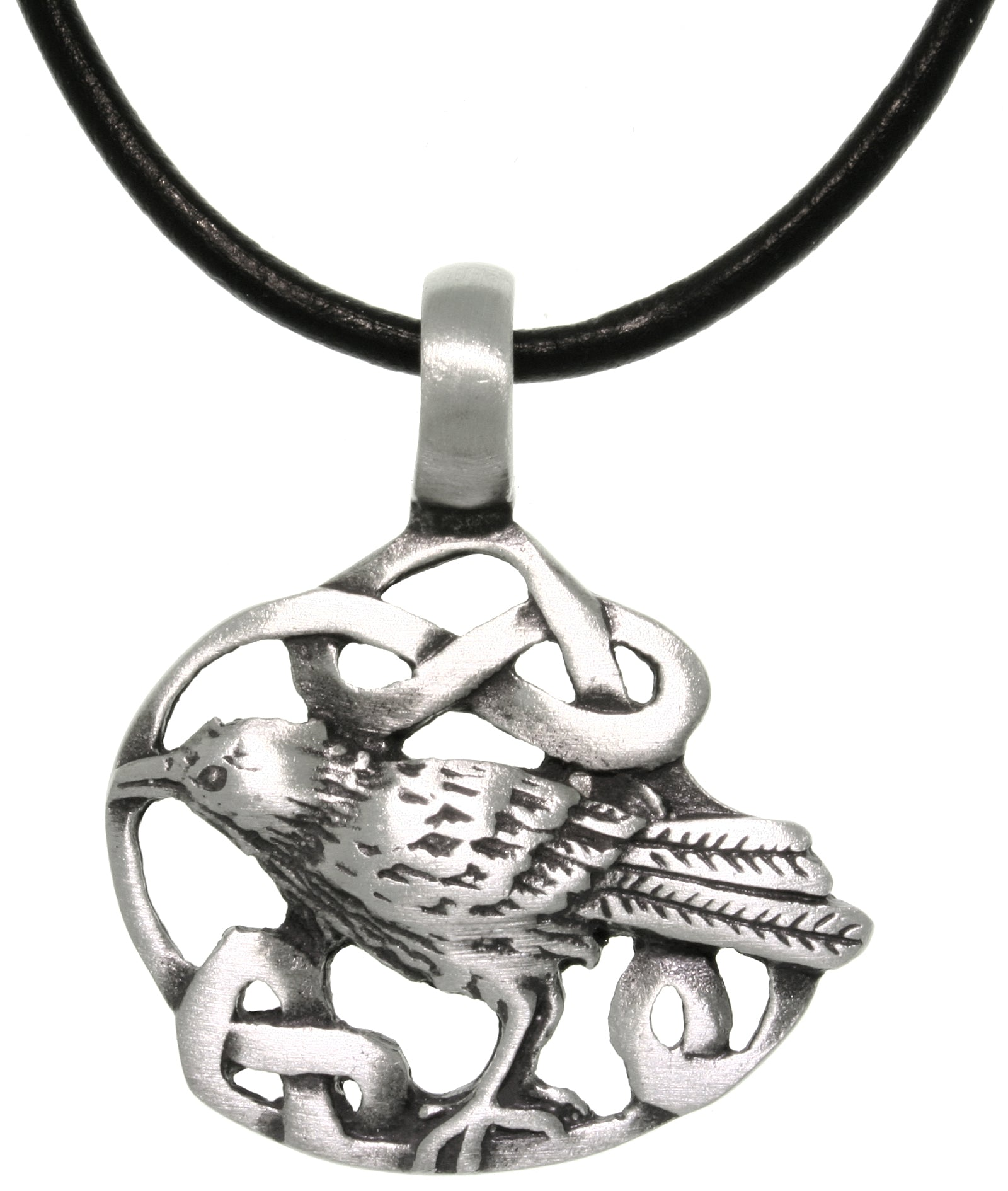 Jewelry Trends Pewter Celtic Crow Pendant with 18 Inch Black Leather Cord Necklace
