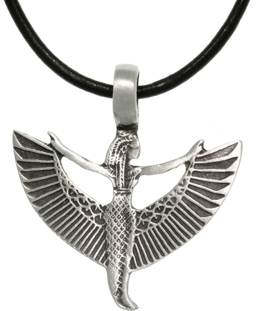 Jewelry Trends Pewter Goddess Maat Egyptian Pendant with 18 Inch Black Leather Cord Necklace