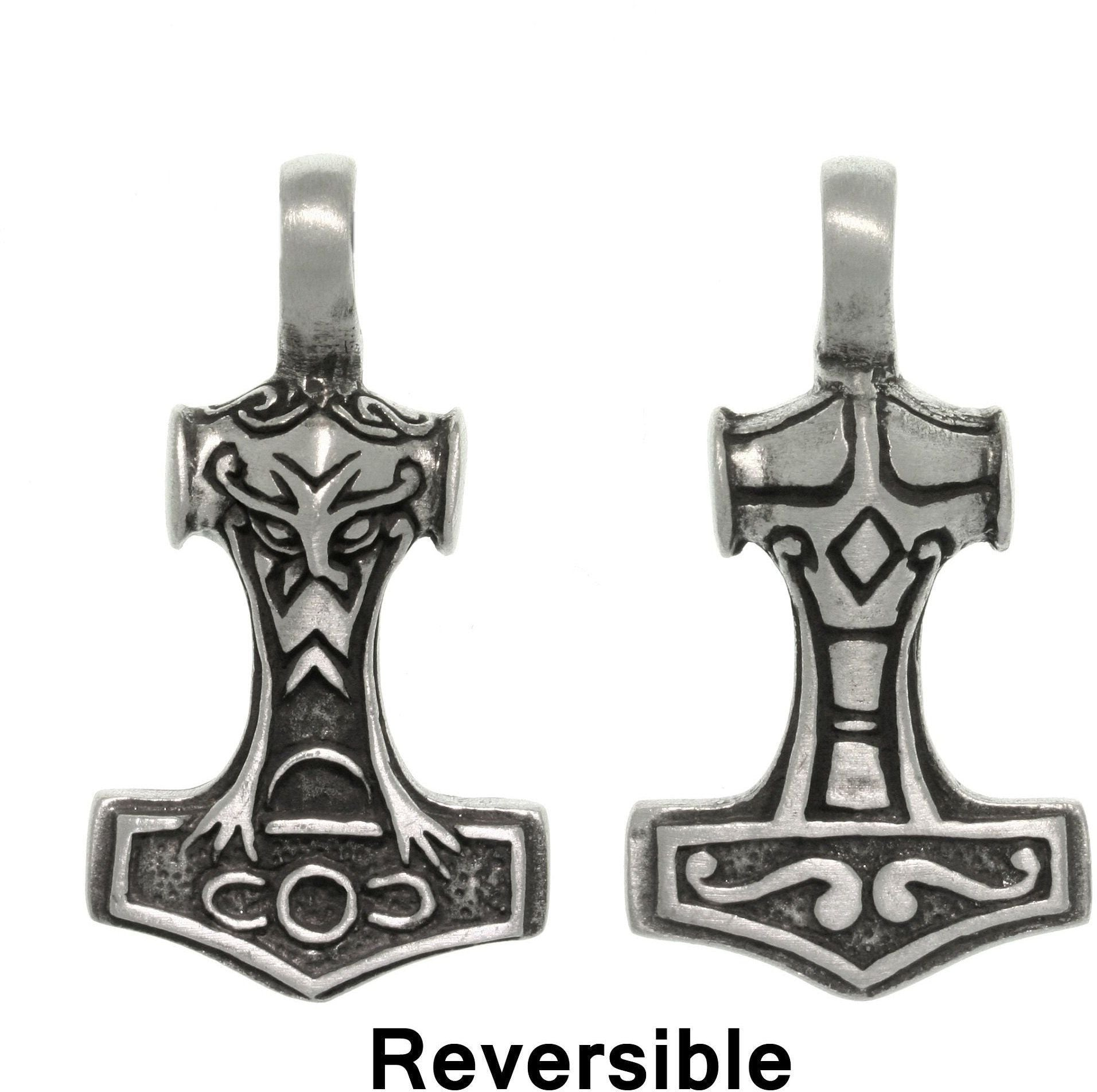 Jewelry Trends Pewter Two Sided Thor's Hammer Pendant