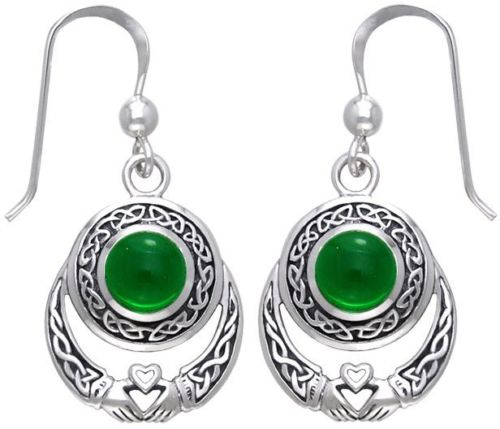 Jewelry Trends Sterling Silver Claddagh Celtic Knot Dangle Earrings with Round Dark Green Glass Stones