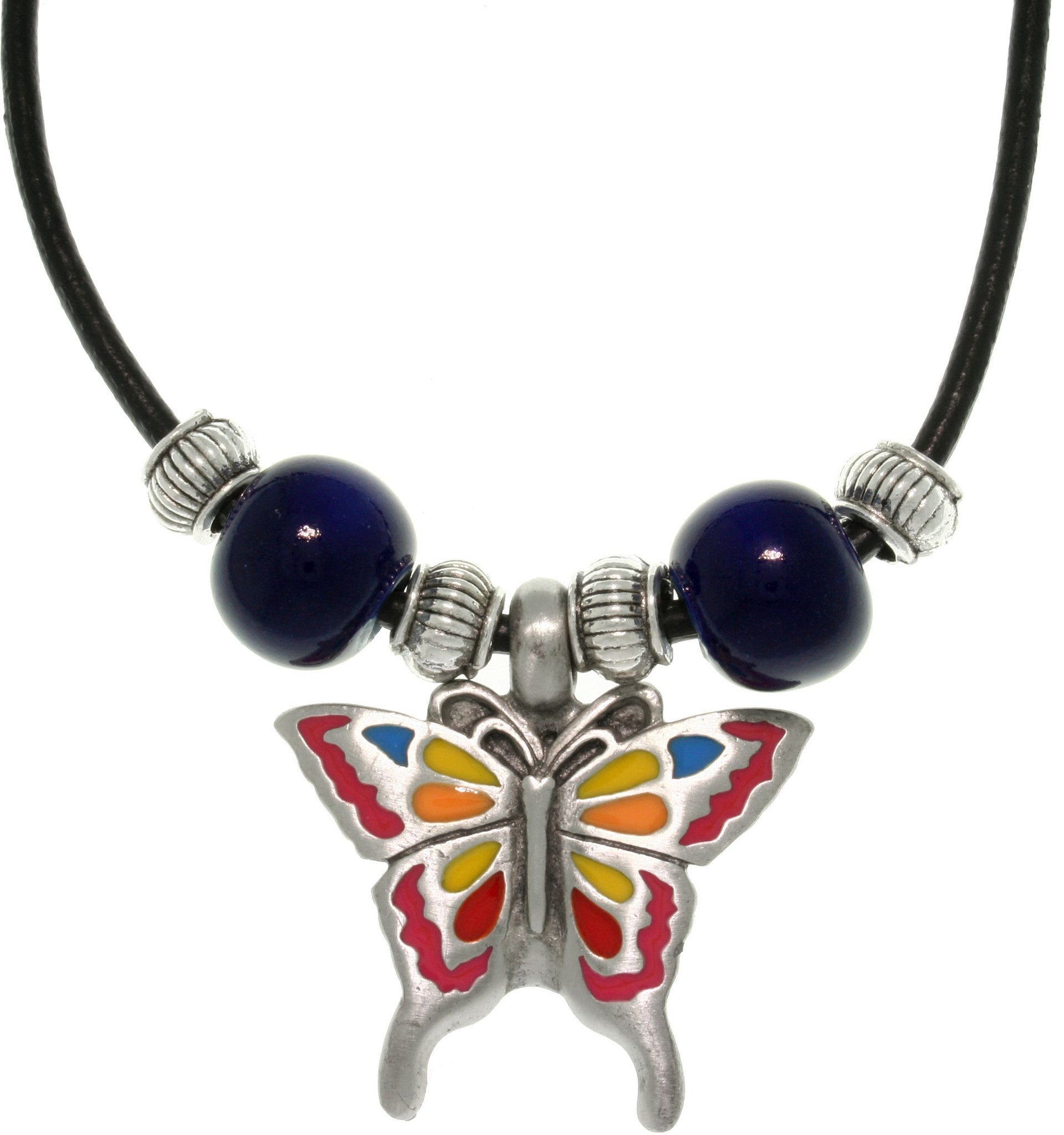 Jewelry Trends Pewter Colored Butterfly and Glazed Porcelain Bead Necklace