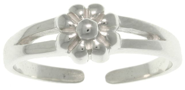 Jewelry Trends Sterling Silver Spring Flower Adjustable Toe Ring