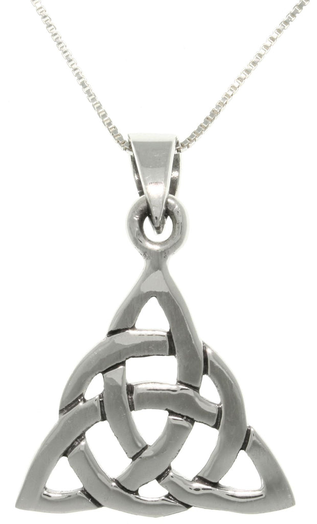 Jewelry Trends Sterling Silver Celtic Triangle Knot Pendant Circle of Life Symbol with 18 Inch Box Chain Necklace
