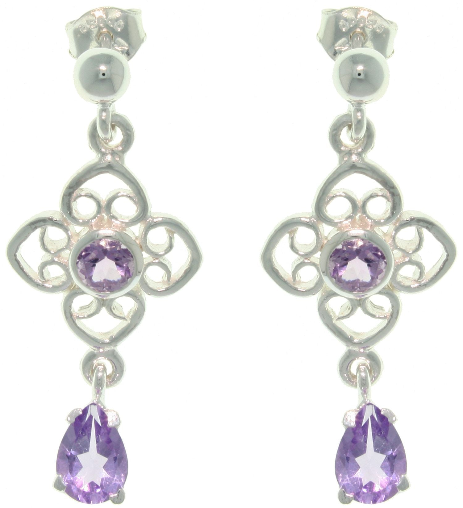 Jewelry Trends Sterling Silver Genuine Amethyst Celtic Flower and Teardrop Dangle Earrings
