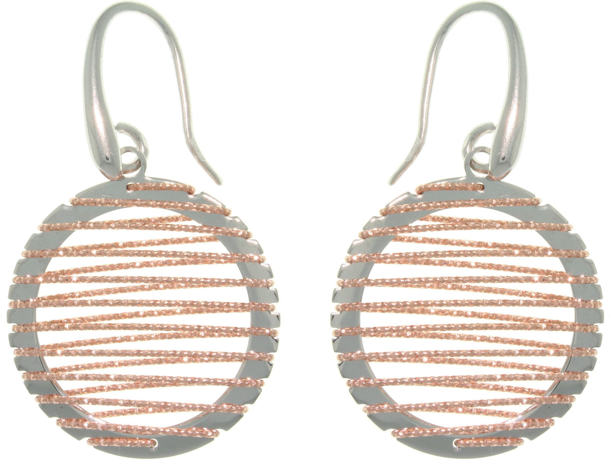 Jewelry Trends Sterling Silver & Rose Gold Circle Dangle Earrings with Wrapped Sparkle Twisted Rope Design