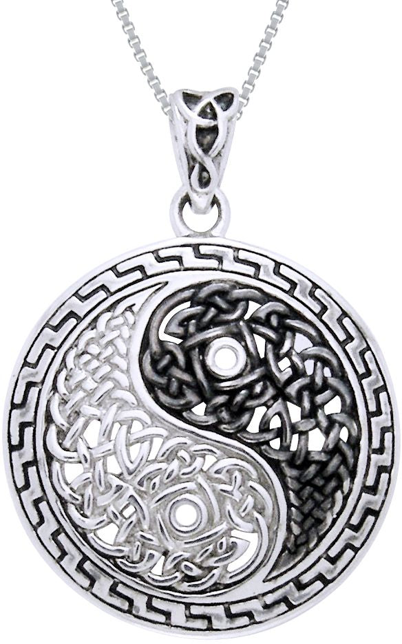 Jewelry Trends Sterling Silver Yin Yang Celtic Knot Pendant Necklace Courtney Davis Art