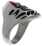 Jewelry Trends 316L Stainless Steel Grim Reaper Skull Ring with Red CZ Eyes Wide Cast Band Whole Sizes 9 - 14 - 10