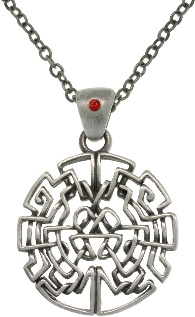 Jewelry Trends Pewter Celtic Circle Maze Pendant with Red Crystal on 24 Inch Chain Necklace