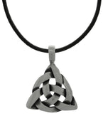 Jewelry Trends Pewter Celtic Triangle Knot Pendant on Black Leather Necklace