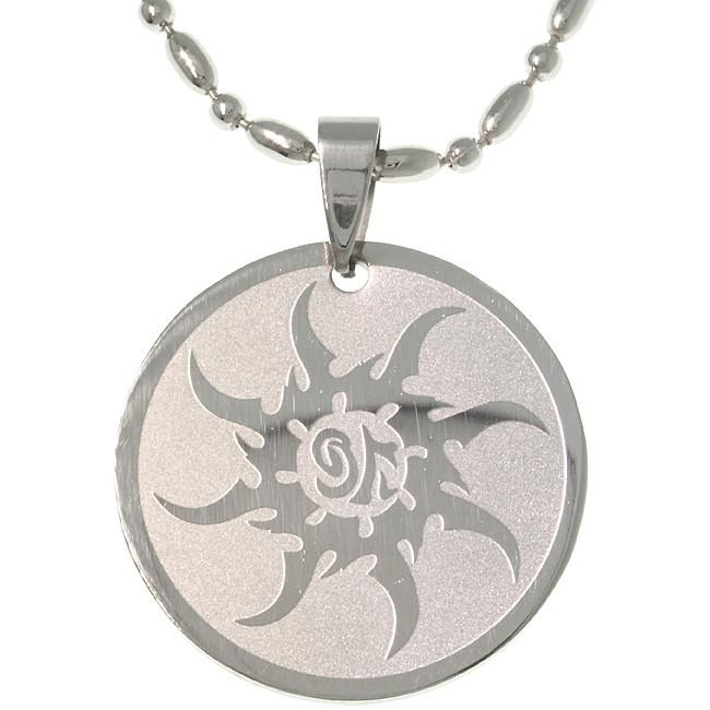Jewelry Trends Stainless Steel Tribal Sun Pendant on 20 Inch Ball Chain Necklace