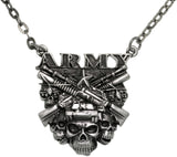 Jewelry Trends Pewter Army Insignia with Skulls Pendant on 24 Inch Chain Necklace