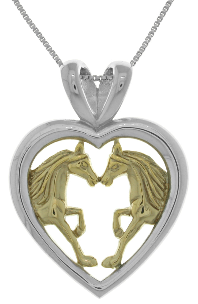 Jewelry Trends Sterling Silver and 14k Gold-Plated Horse Lovers Heart Pendant on 18 Inch Box Chain Necklace