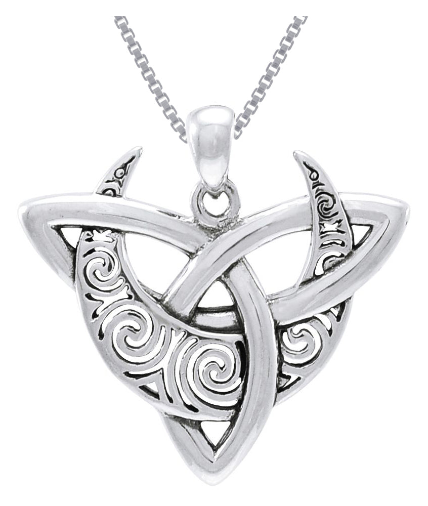 Jewelry Trends Sterling Silver Celtic Triquetra Moon Pendant on 18 Inch Box Chain Necklace