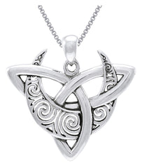 Jewelry Trends Celtic Triquetra Moon Sterling Silver Pendant Necklace 18""