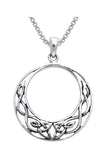 Jewelry Trends Sterling Silver Celtic Knot Work Round Pendant on 18 Inch Box Chain Necklace