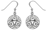 Jewelry Trends Sterling Silver Celtic Triskele Knot Round Dangle Earrings