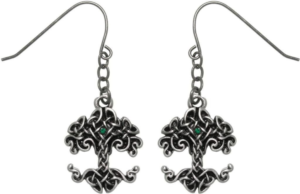 Jewelry Trends Pewter Celtic Knot Tree Of Life Dangle Chain Earrings