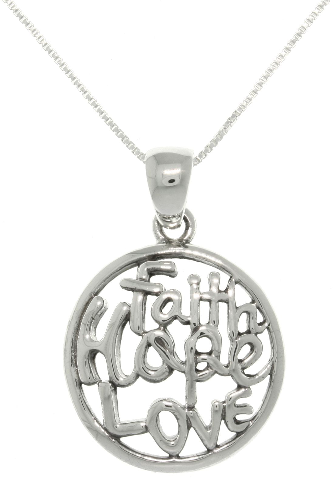 Jewelry trends sterling silver round faith hope love pendant with jewelry trends sterling silver round faith hope love pendant with 18 inch box chain necklace aloadofball Gallery